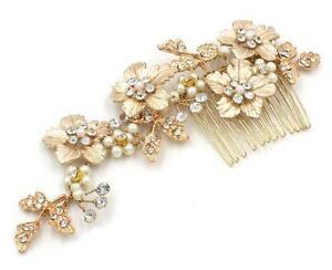 Kristall-Braut-Haarkamm-Gold-Blumen-Strass-Rebe-Perlen-Hochzeit-Kopfschmuck