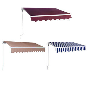 Image is loading Manual-Patio-Retractable-Deck-Awning-Sunshade-Shelter- Canopy-  sc 1 st  eBay & Manual Patio Retractable Deck Awning Sunshade Shelter Canopy ...