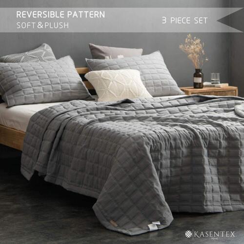 Drimbringer Soft Microfiber Blanket Bedspread Full Size Quilt Coverlet Set