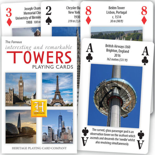 HPC comodines Famoso e interesante torres Mazo de 52 Cartas para Juegos