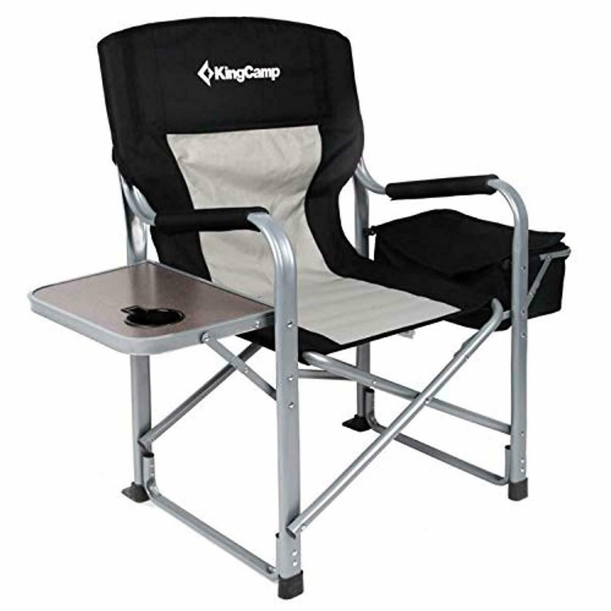Best KingCamp Heavy Duty Steel Camping Folding Director Chair with Cooler Bag