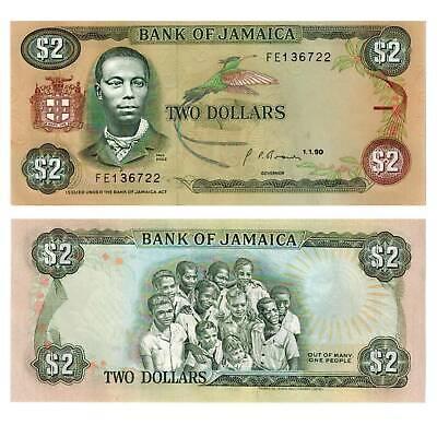 / 9125546## Fine Workmanship Contemplative Jamaika Jamaica 2 Dollars 1990 Pick 69d Unc
