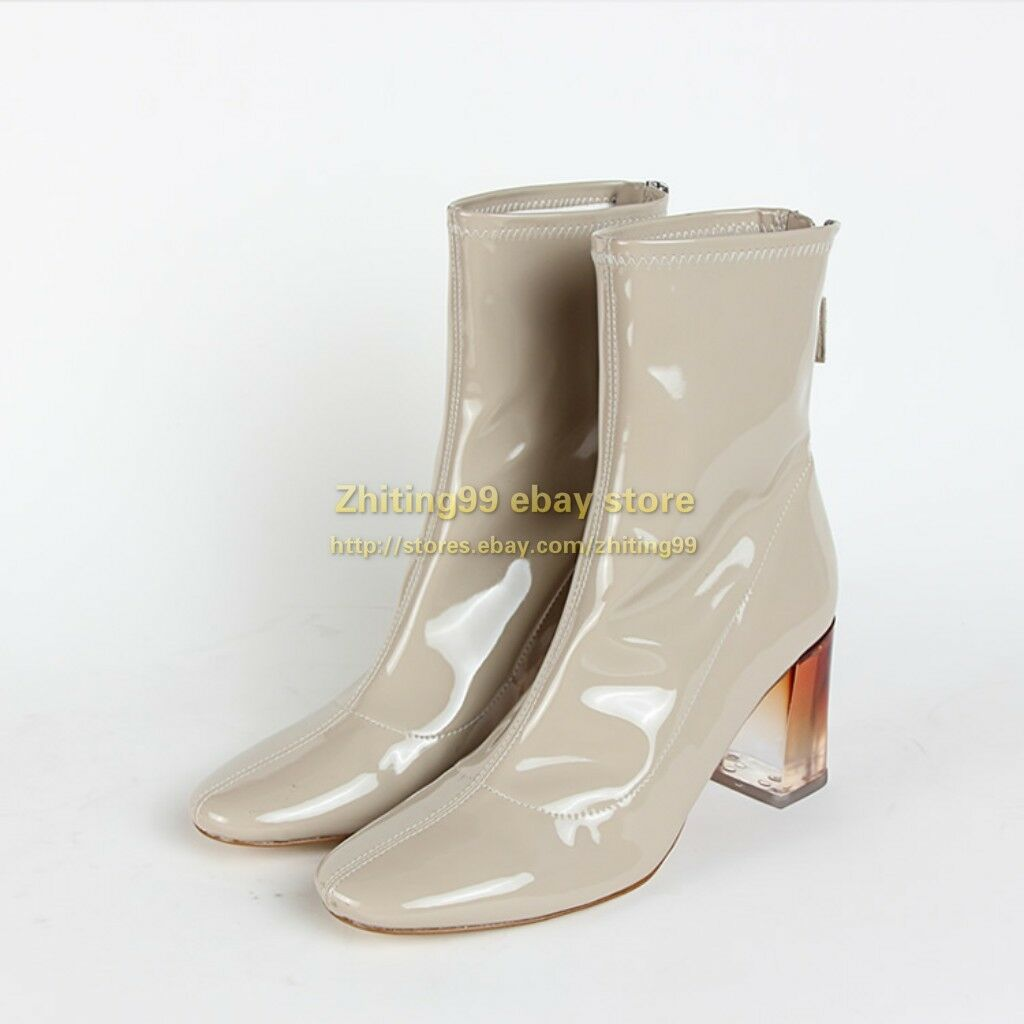 Winter Womens Patent Leather Chunky High Heels Crystal Heel Ankle Boots Shoes