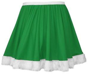 Ladies-Green-Miss-Elf-Full-Circle-15-034-Skater-Skirt-with-White-Faux-Fur-Trim