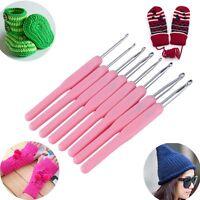 Pink 8 Size Soft Plastic Handle Aluminum Crochet Hook Knit Needle Set 2.5-6mm F7
