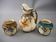 Rare 3pc Set of James Hadley&Sons Worcester CreamPitcher & Vases Hand Painted