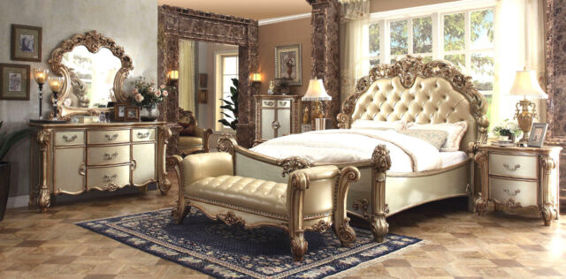 ACME Vendome carving master bedroom set leather antique white gold