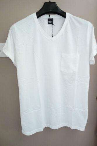 """DR DENIM /""""de Nicolas blanc S//S T-Shirt col V M L XL Bnwt"""