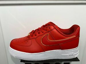 Details zu Nike Air Force 1 Low Gym Red Gold White Essential Womens Size  6-10 New