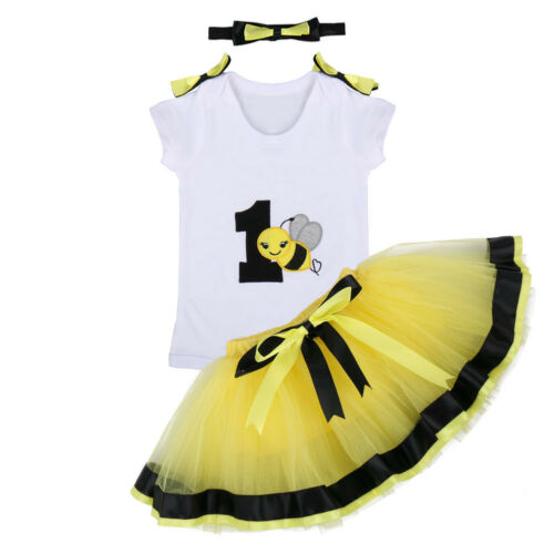 Toddler Baby Girl 1st Birthday Tutu Dress Unicorn Cake Smash Romper Skirt Outfit
