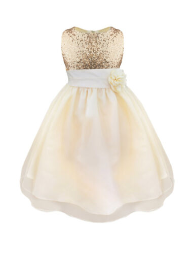 Girls Sequins Mesh Tull Dress Flower Girl Wedding Party Prom Ball Gown Dresses