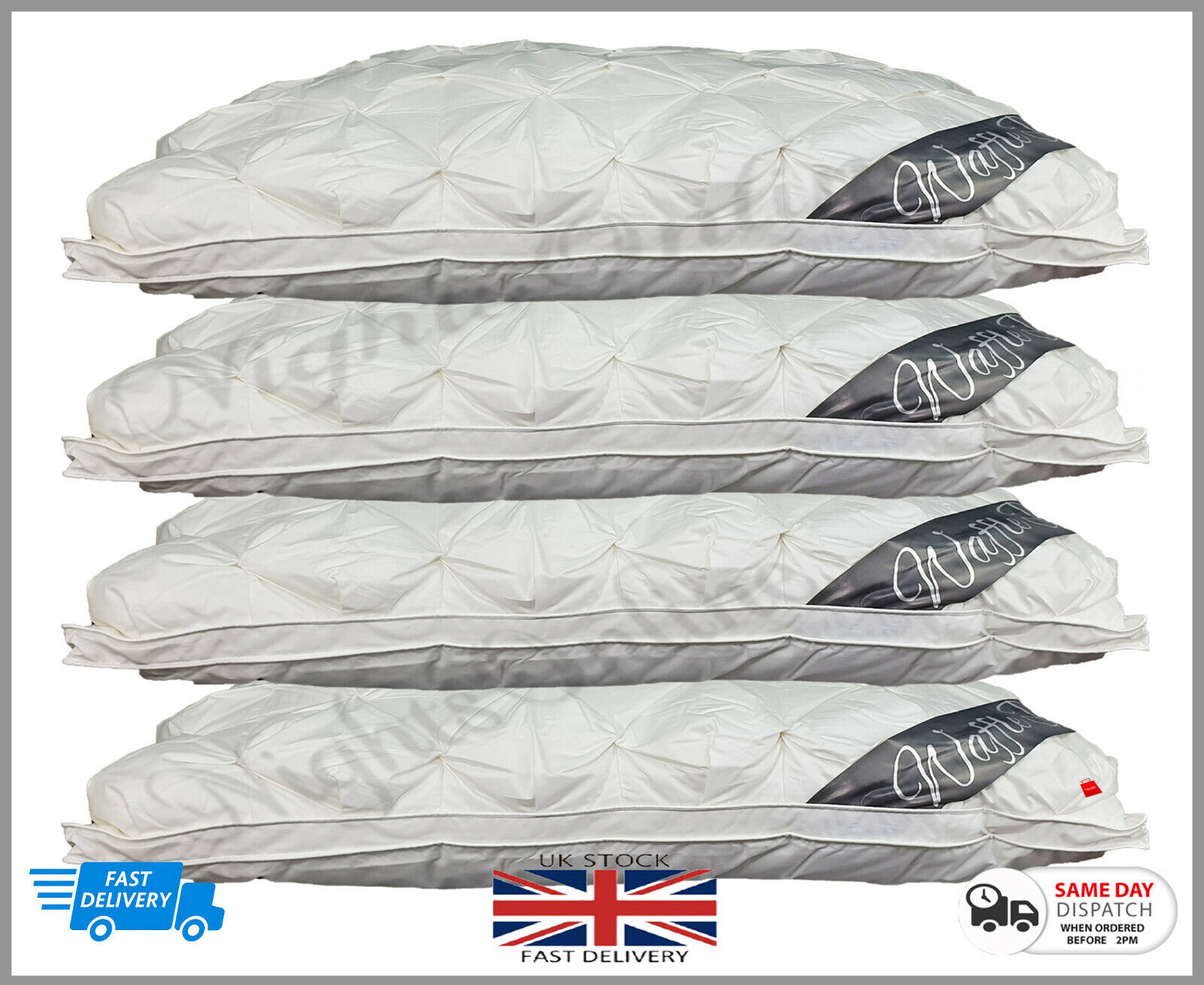 2 x Luxury Waffle Warm Pillow bed Hotel Quality Extra Soft Hollow Fibre Filling