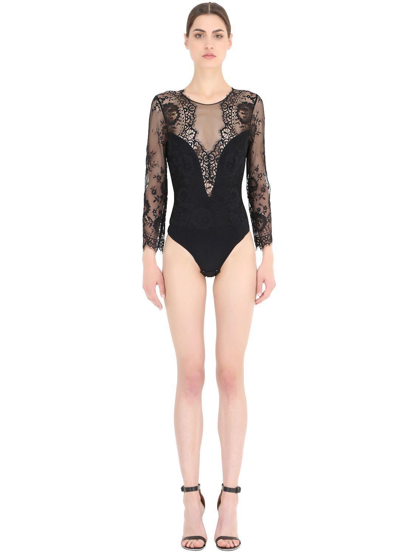Christies Wohombres  Couture Long sleeve Lace Bodysuit señora body de encaje  venta con descuento