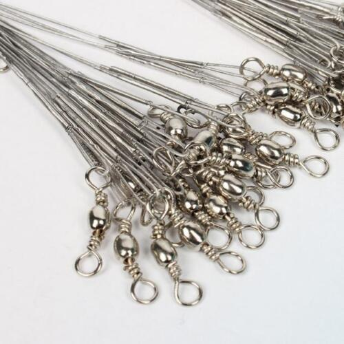 100X Fishing Tools Trace Lures Leader Steel Line Wire Spinner 16//18//22//24//28cm T