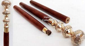 Brass-Handle-Designer-Canes-Antique-Wooden-Canes-Walking-Stick-Vintage-Nautical
