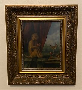 Vintage Gold Framed Monkey Oil on Canvas Painting after George Stubbs
