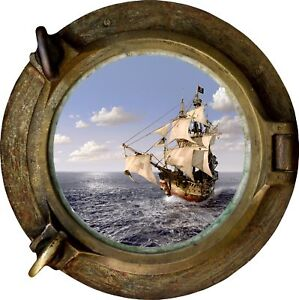 Huge-3D-Porthole-Pirate-Ship-Schooner-View-Wall-Stickers-Film-Decal-507