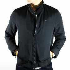 NWT Tommy Hilfiger Denim Jacket Black Nylon Full Zip Biker Size M Waterproof