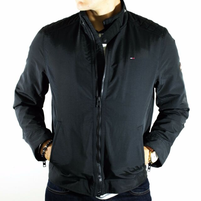 48dd27d6ef3a NWT Tommy Hilfiger Denim Jacket Black Nylon Full Zip Biker Size M Waterproof