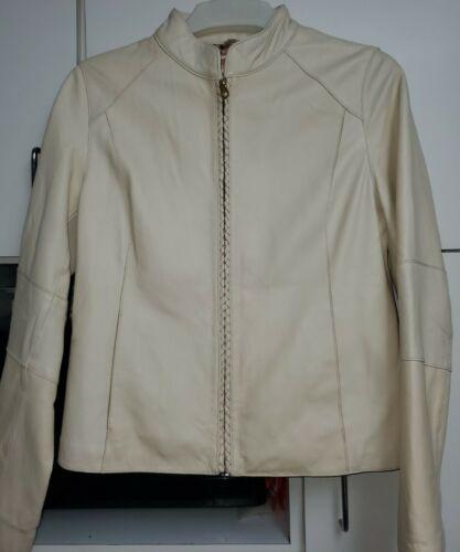 Wilson Ivory Cream Leather Motorcycle Jacket Sz L
