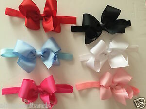 Big-Bow-Baby-Girls-Headband-Soft-Elastic-Band-Variety-Hair-Accessorie-6Inch-Lot