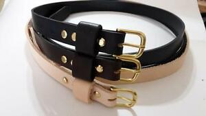 "1/"" W HAND MADE 3MM THICK REAL LEATHER BELT S.S BUCKLE MEN WOMEN BY RANCH LAND"