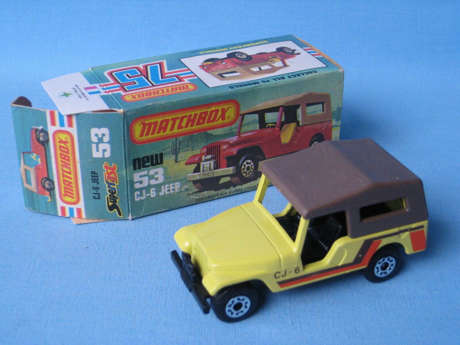 Lesney Matchbox Superfast 53 Jeep CJ6 Jeep Cream Body Rare and Boxed USA Issue