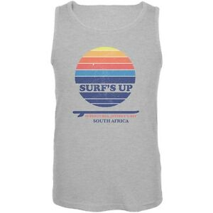 Old Glory Surfs Up Supertubes Beach Heather Grey Adult Tank Top