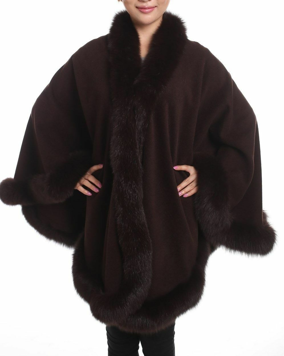 CHOCOLATE BROWN FOX FULL SKIN TRIMMED 100% CASHMERE SWING CAPE WRAP COAT