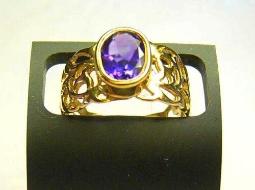 2,6 amatista gramo de oro Ring 375er dorado 9 CT talla 17 53,5