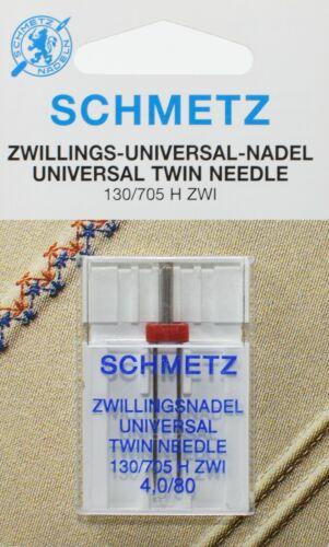 4mm//nm80 1 SCHMETZ gemello macchine per cucire Aghi Universale Pistone Piatto 130//705