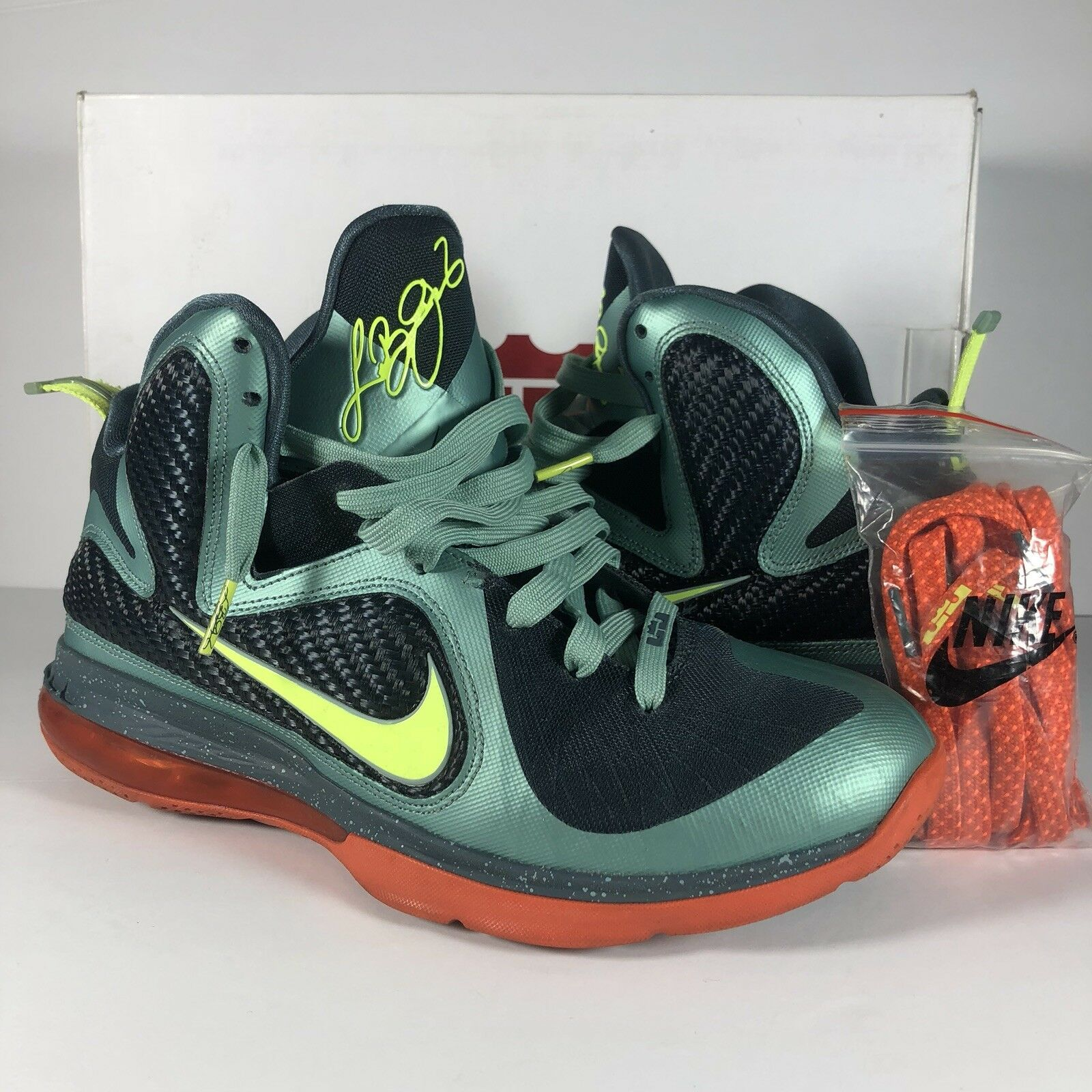 Nike LEBRON IX 9 Cannon Men's shoes 469764-004 Volt Slate bluee orange Sz 9
