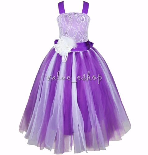 Formal Flower Girl Dress Kid Wedding Bridesmaid Party Pageant Princess Lace Gown
