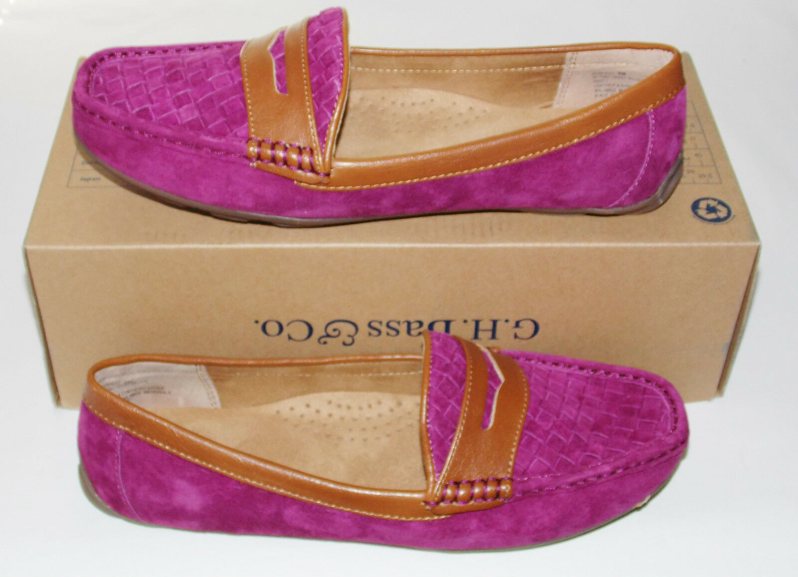 NWB G.H. Bass & Co. Becca Loafers Schuhes 9 M Suede Leder & Synthetic Up Magenta