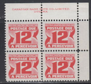 Canada-J36-12-CENTENNIAL-POSTAGE-DUE-2ND-ISSUE-UR-PLATE-BLOCK-MNH