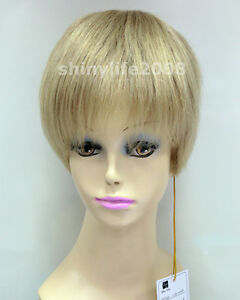 100-Real-Human-Hair-Full-Wig-Short-Straight-Women-Brown-Blonde-Natural