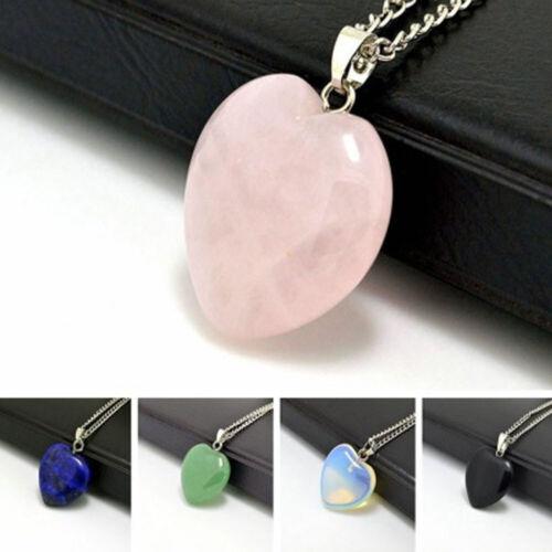 Natural Quartz cœur forme collier pendentif Gemme Guérison Minéral Collier