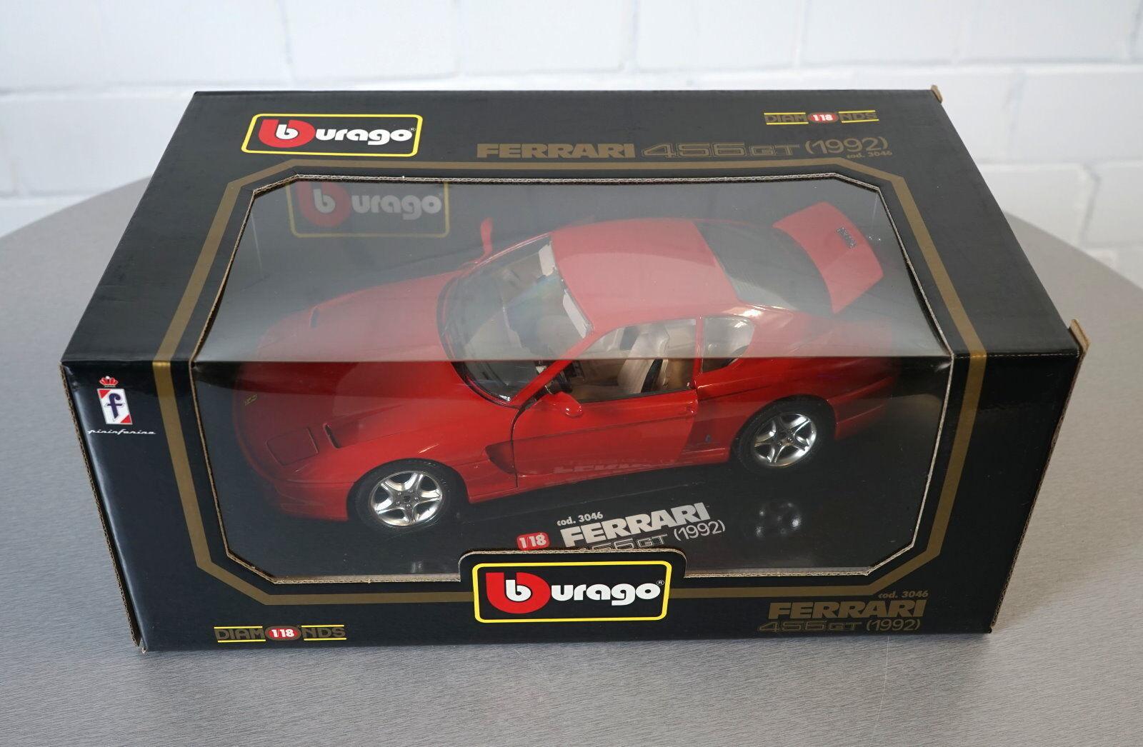 Burago 1 18 Ferrari 456 456 456 GT (1992) red -3046- Die-Cast Scale Modell Auto NEU OVP 4013f4