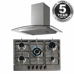 SIA 70cm Black 5 Burner Gas On Glass Hob /& Curved Glass Chimney Cooker Hood Fan
