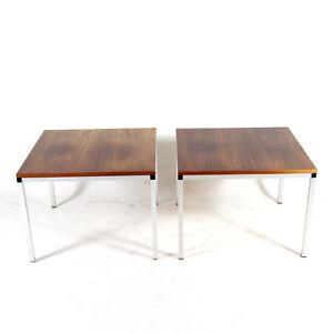 1-of-2-Retro-Vintage-Danish-Rosewood-Steel-Side-Coffee-Table-60s-70s-Mid-Century