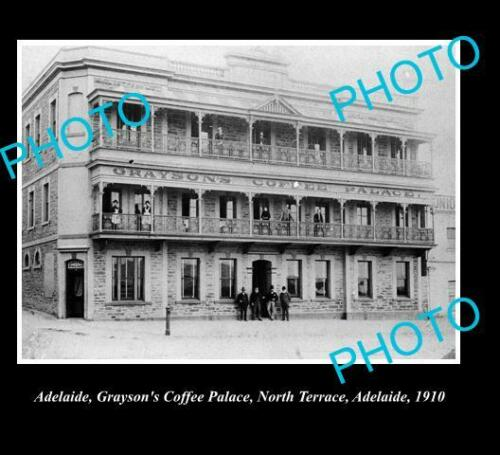 OLD 8x6 HISTORIC PHOTO OF ADELAIDE SA, GRAYSONS COFFEE PALACE c1910
