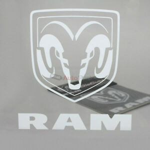 Dodge Ram Clear White Vinyl Window Glass Decal Emblem