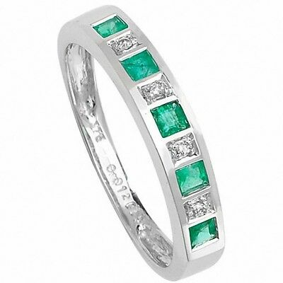 Hart Arbeitend Emerald And Diamond Eternity Ring White Gold Large Finger Size R - Z Certificate