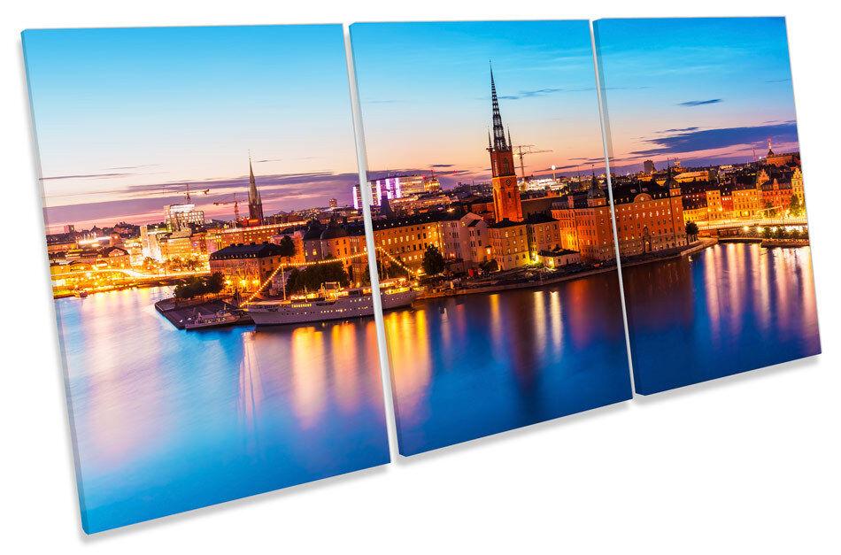 Stoccolma Svezia SKYLINE CITY CANVAS Wall Art TRIPLE Print Picture