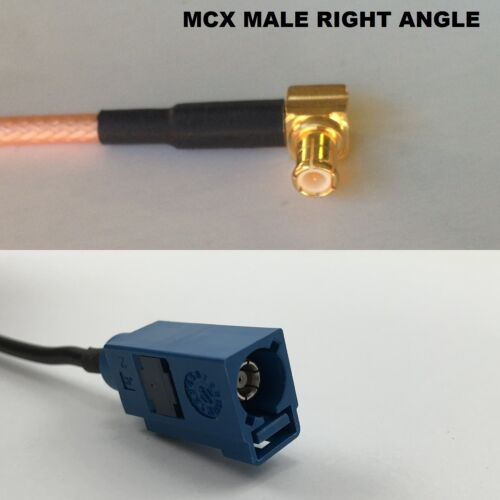 RG316 MCX MALE ANGLE to Fakra Blue GPS Coaxial RF Cable USA-US