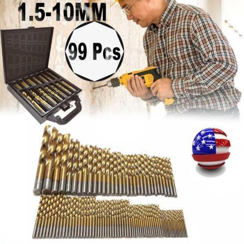 99pcs//set 1.5mm-10mm Titanium Coated HSS Twist Drill Bits Metric System US