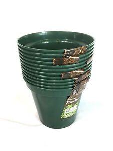 Bulk 24 Garden Flower Pot Planter Round Plastic Pots Green