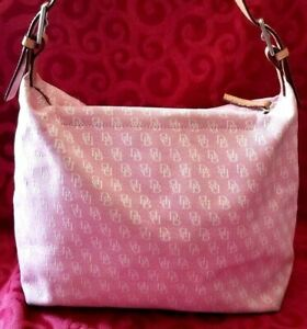 AUTHENTIC-DOONEY-amp-BOURKE-SIGNATURE-PINK-CANVIS-LEATHER-TRIM-HANDBAG-S-M607953