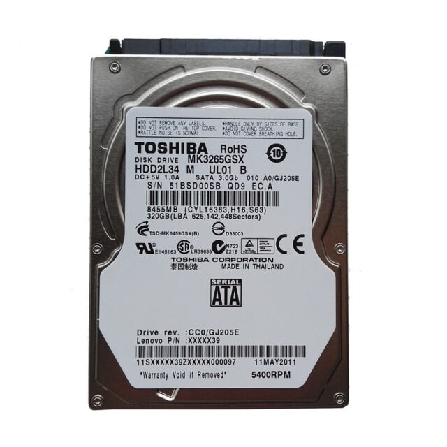 "Toshiba 320GB 2.5"" SATA Laptop Hard Drive MK3265GSX 5400RPM Internal HDD"