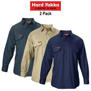 Mens-Hard-Yakka-Cotton-Drill-2-PACK-Long-Sleeve-Closed-Front-Shirt-Work-Y07530